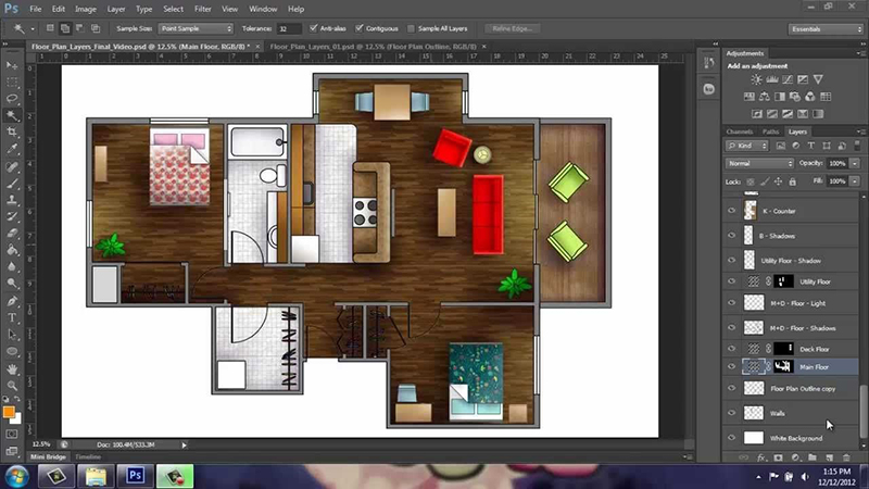 picture of photoshop software house floor 3d visualisation