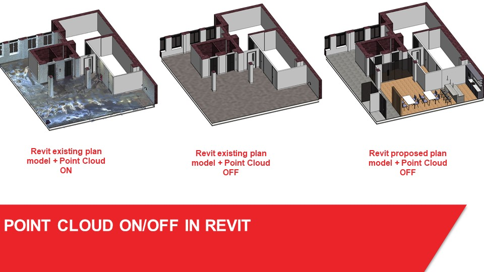 picture of laser scan point cloud to revit plan model on and off example