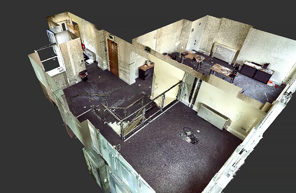 picture of laser scan to revit house floor plan visualisation