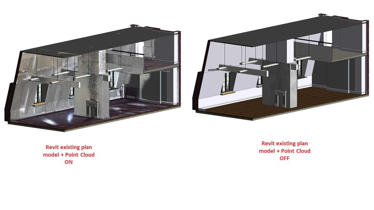 picture of laser scan to revit existing plan implementation on and off example